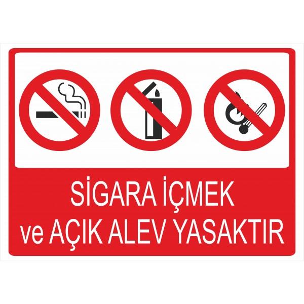 Sigara İçmek ve Açık Alev Yasaktır Pvc Levha