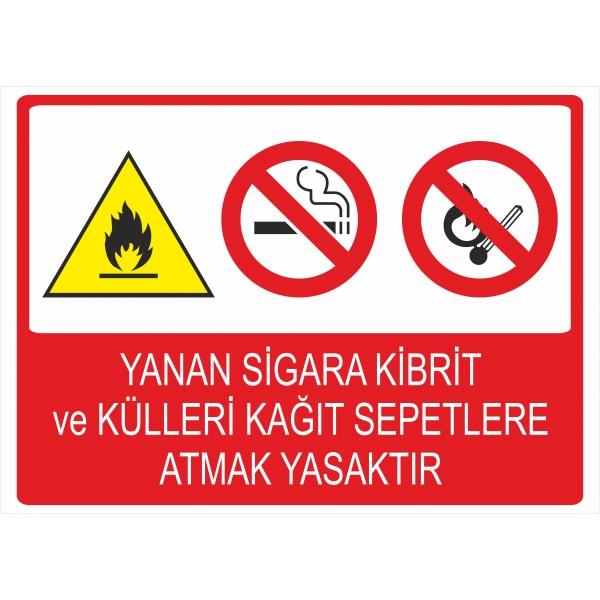 Yanan Sigara Kibrit ve Külleri Kağıt Sepetlere Atmak Yasaktır Pvc Levha