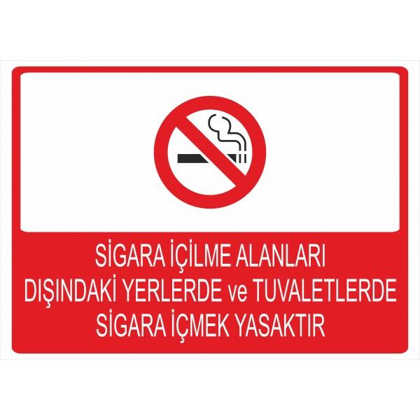 Sigara İçilme Alanları Dışındaki Yerlerde ve Tuvaletlerde Sigara İçmek Yasaktır Pvc Levha