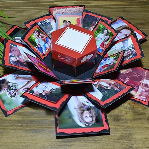Patlayan Aşk Kutusu Kırmızı Çiftkalp