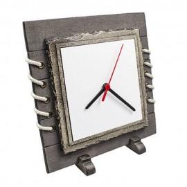 Ahşap Doğal Taşlı Saat Çerçeve - (24x24cm)
