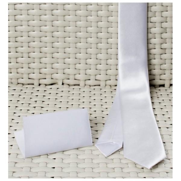 Kişiye Özel Saten Beyaz Kravat