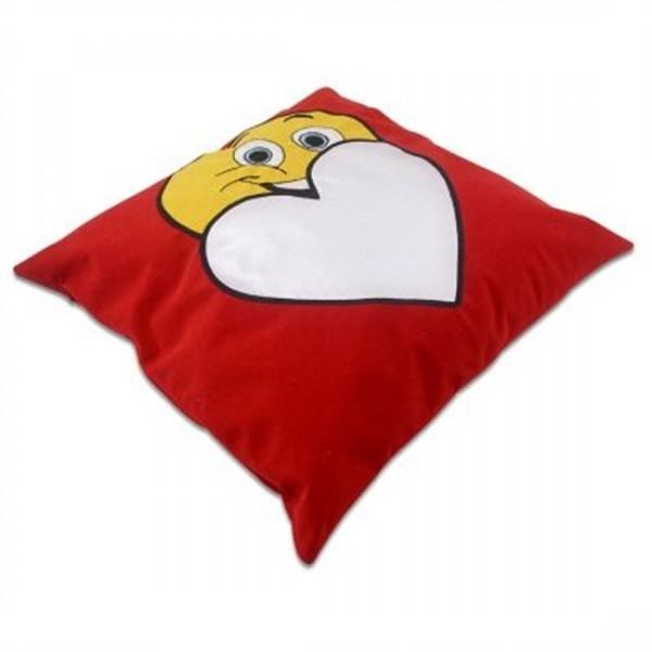 Gülümseyen Surat Kırmızı Kare Yastık