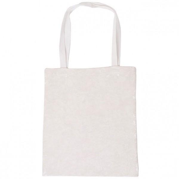 İpek Kadife Beyaz Askılı Çanta