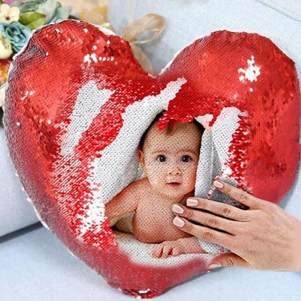 Sihirli Pullu Kalp Yastık Kırmızı