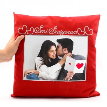 Kare Kırmızı Süet Yastık (Seni Seviyorum)