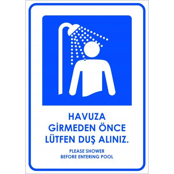 Havuza Girmeden Önce Lütfen Duş Alınız Levha